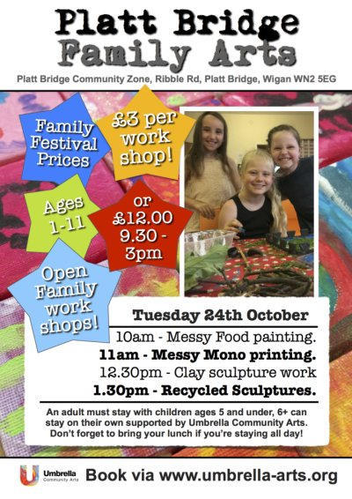 Platt Bridge Family Arts October 2017 Art club leaflet
